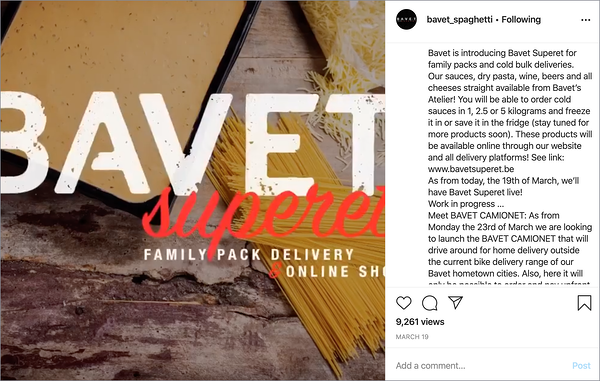 Instagram post from our customer Bavet